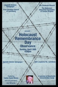 Holocaust Remembrance Day flyer David Wisnia Avi Wisnia at Agudath Shalom Lynchburg VA, April 2017